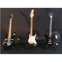 3 GUITARS: EPIPHONE SG SPECIAL ELECTRIC GUITAR WITH SOFT SHELL CASE, ACADEMY STRAT STYLE ELECTRIC