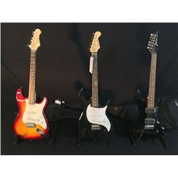 3 GUITARS: IBANEZ SA SERIES ELECTRIC GUITAR WITH TWO HUMBUCKER PICKUPS, INSET JACK, AND SOFT SHELL
