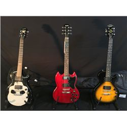 3 GUITARS: EPIPHONE LES PAUL SPECIAL II GUITAR WITH SOFT SHELL CASE, AUSTIC SG SPECIAL STYLE GUITAR
