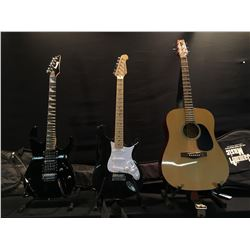 3 GUITARS: TRADITION ACOUSTIC GUITAR WITH SOFT SHELL CASE, BEHRINGER CENTARI STRAT STYLE ELECTRIC