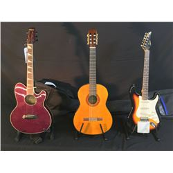 3 GUITARS: SAMICK STRAT COPY ELECTRIC GUITAR WITH SOFT SHELL CASE, YAMAHA C-70 NYLON STRING GUITAR