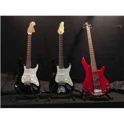 3 GUITARS: IBANEZ SOUNDGEAR P-BASS STYLE BASS GUITAR WITH SOFT SHELL CASE, EPIPHONE STRAT STYLE