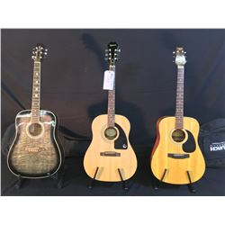 3 GUITARS: TRADITION MODEL FG-10N ACOUSTIC GUITAR WITH SOFT SHELL CASE, EPIPHONE MODEL AJ-100