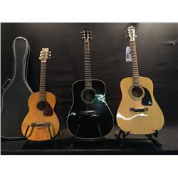 3 GUITARS: EPIPHONE DR-100NA ACOUSTIC GUITAR, EPIPHONE PR-200 ACOUSTIC GUITAR, AND VINTAGE YAMAHA