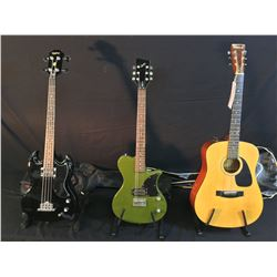3 GUITARS: SAMICK MODEL SW 115E ACOUSTIC GUITAR WITH SOFT SHELL CASE, FIRST ACT ME505 ELECTRIC