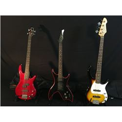3 GUITARS: PEAVEY MILESTONE BXP 4 STRING BASS GUITAR WITH SOFT SHELL CASE, HONDO FORMULA I SERIES