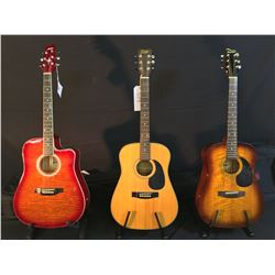 3 GUITARS: SAMICK OW-015G ACOUSTIC GUITAR WITH SOFT SHELL CASE, GOYA 316H ACOUSTIC GUITAR, AND