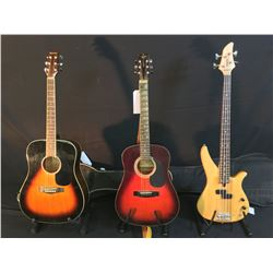 3 GUITARS: YAMAHA NATURAL WOOD SINGLE PICKUP BASS GUITAR WITH SOFT SHELL CASE, TRADITION MODEL