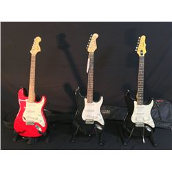 3 GUITARS: SQUIER STRAT WITH SOFT SHELL CASE, BURSWOOD STRAT COPY, AND EPIPHONE STRAT STYLE