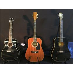 3 GUITARS: L.H. LELAND ACOUSTIC GUITAR WITH SOFT SHELL CASE, ANJO MODEL W66 ACOUSTIC GUITAR, AND