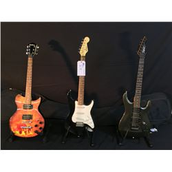 3 GUITARS: SQUIER ELECTRIC GUITAR WITH FLOYD ROSE STYLE LOCKING/VIBRATO BRIDGE AND NUT, TWO