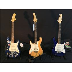 3 GUITARS: PEAVEY EXP RAPTOR PLUS ELECTRIC GUITAR WITH SOFT SHELL CASE, YAMAHA PACIFICA LEFT HANDED