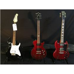 3 GUITARS: IBANEZ LES PAUL STYLE ELECTRIC GUITAR WITH CHROME KNOBS AND BRIDGE, AND SOFT SHELL CASE,