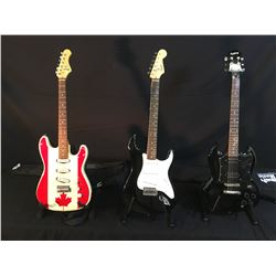 3 GUITARS: EPIPHONE SG ELECTRIC GUITAR WITH SOFT SHELL CASE, SQUIER BULLET STRAT, AND ELECA STRAT