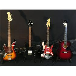 4 GUITARS: SQUIER JAZZ BASS WITH SOFT SHELL CASE, FIRST ACT LES PAUL JUNIOR STYLE GUITAR,  JAY JR