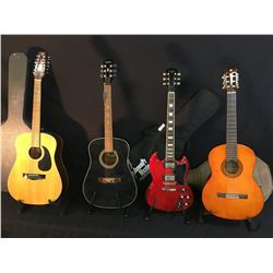 4 GUITARS: EPIPHONE MODEL PR 350B ACOUSTIC GUITAR, YAMAHA MODEL C-40 NYLON STRING GUITAR WITH SOFT