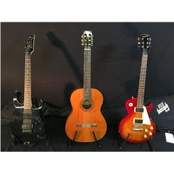3 GUITARS: EPIPHONE LES PAUL WITH GIBSON SOFT SHELL CASE, SIGMA MODEL 5S-SCS-4 NYLON STRING