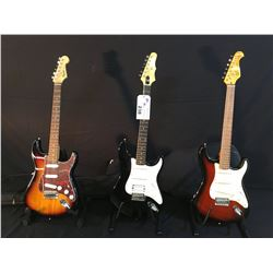3 GUITARS: SX VANTAGE SERIES STRAT COPY ELECTRIC GUITAR WITH SOFT SHELL CASE, EPIPHONE STRAT STYLE