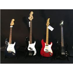 4 GUITARS: SQUIER STRAT GUITAR WITH SOFT SHELL CASE, SQUIER P-BASS, MANSFIELD STRAT STYLE GUITAR,