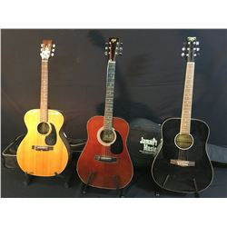 3 GUITARS: TRADITION MODEL TG500 ACOUSTIC GUITAR WITH SOFT SHELL CASE, HONDO II H119A ACOUSTIC