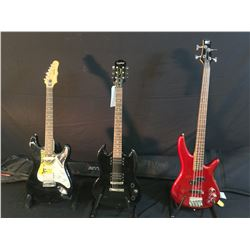3 GUITARS: IBANEZ SOUNDGEAR SR 300 DX BASS GUITAR WITH STACKED TONE KNOB, AND SOFT SHELL CASE,