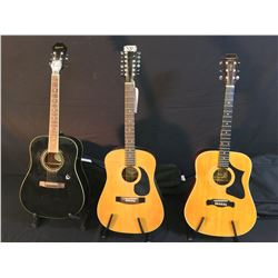 3 GUITARS: MAGNUM MARQUIS SERIES MS-240 ACOUSTIC GUITAR WITH SOFT SHELL CASE, HONDO MODEL H-18-12