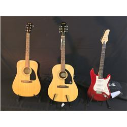 3 GUITARS: SLAMMER BY HAMER STRAT COPY ELECTRIC GUITAR WITH SOFT SHELL CASE, EPIPHONE MODEL AJ-100