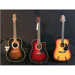 3 GUITARS: SEGOVIA MODEL D-70 ACOUSTIC GUITAR WITH SOFT SHELL CASE, JAY TURSER CUTAWAY