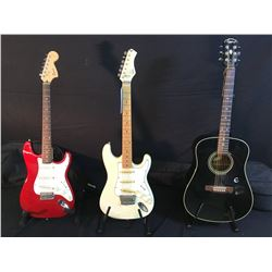3 GUITARS: EPIPHONE MODEL PR350E ACOUSTIC GUITAR WITH SOFT SHELL CASE, HONDO STRAT STYLE ELECTRIC