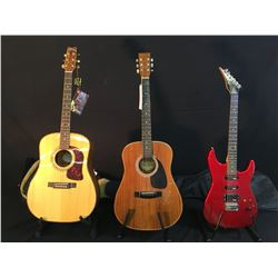 3 GUITARS: PROFILE REVERSE HEADSTOCK ELECTRIC GUITAR WITH SOFT SHELL CASE, SAMICK S W015 ACOUSTIC