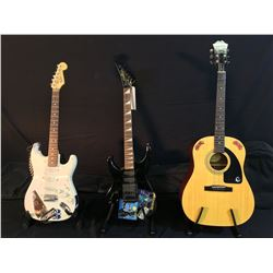 3 GUITARS: EPIPHONE MODEL AJ 100 ACOUSTIC GUITAR WITH SOFT SHELL CASE, RENEGADE LEFT HANDED