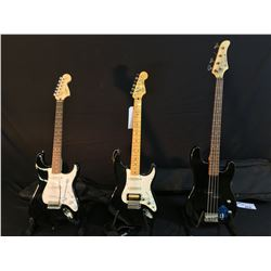 3 GUITARS: BARRACUDA P-BASS STYLE 4 STRING BASS WITH SOFT SHELL CASE, SQUIER STRATOCASTER WITH