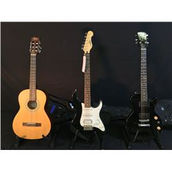3 GUITARS: EPIPHONE LES PAUL SPECIAL WITH SOFT SHELL CASE, YAMAHA EG112 STRAT STYLE GUITAR WITH
