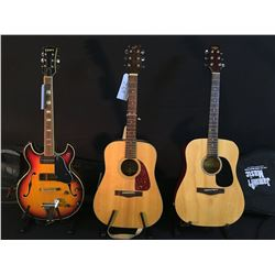 3 GUITARS: TRADITION ACOUSTIC GUITAR WITH SOFT SHELL CASE, FENDER F-210 ACOUSTIC GUITAR, AND