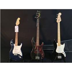 3 GUITARS: SQUIER BULLET, PROFILE P-BASS STYLE 4 STRING BASS GUITAR, AND SQUIER BRONCO 4 STRING