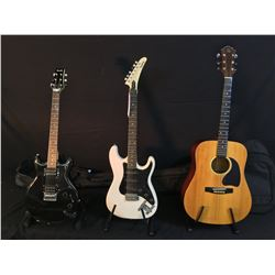 3 GUITARS: BC RICH BW-1000 ACOUSTIC GUITAR WITH SOFT SHELL CASE, EPIPHONE STRAT COPY ELECTRIC