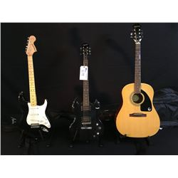 3 GUITARS: EPIPHONE MODEL AJ-100 ACOUSTIC GUITAR WITH SOFT SHELL CASE, EPIPHONE SG SPECIAL GUITAR,