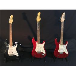 3 GUITARS: IBANEZ GIO STRAT STYLE GUITAR WITH BRIDGE POSITION HUMBUCKER AND SOFT SHELL CASE,