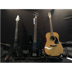 3 GUITARS: EPIPHONE DR-90 ACOUSTIC GUITAR WITH SOFT SHELL CASE, VANTAGE P-BASS STYLE 4 STRING BASS