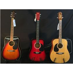 3 GUITARS: TRADITION ACOUSTIC GUITAR, ROSE ACOUSTIC GUITAR, AND JASMINE BY TAKAMINE S33LH LEFT