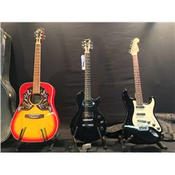 3 GUITARS: SQUIER STRAT WITH FENDER SOFT SHELL CASE, EPIPHONE LES PAUL SPECIAL, AND VIBRA MODEL 69