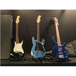 3 GUITARS: CORT P-BASS STYLE BASS GUITAR WITH SOFT SHELL CASE, SQUIER BY FENDER BULET WITH VIBRATO