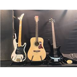 3 GUITARS: TANGLEWOOD MODEL TW12NS ACOUSTIC GUITAR, IBANEZ SOUNDGEAR P-BASS STYLE BASS GUITAR WITH