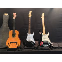 3 GUITARS: SQUIER STRAT GUITAR, BEHRINGER STRAT STYLE GUITAR WITH SOFT SHELL CASE, AND ANJO NYLON