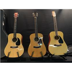 3 GUITARS: SAMICK MODEL SW292S SPALTED WOOD ACOUSTIC GUITAR WITH SOFT SHELL CASE, ARIA MODEL AA300