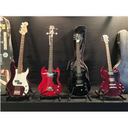 4 GUITARS: EPIPHONE SG 3/4 SIZE BASS GUITAR, GRANADA SG STYLE GUITAR, MADE IN JAPAN, WITH HARD