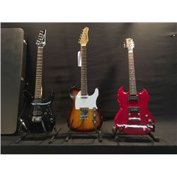 3 GUITARS: EPIPHONE SG SPECIAL, MISSING BRIDGE, TYPHOON TELE STYLE ELECTRIC GUITAR, AND IBANEZ GIO