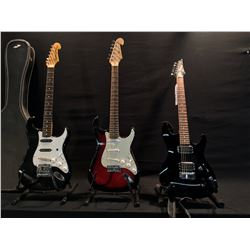 3 GUITARS: IBANEZ SA SERIES GUITAR WITH TWO HUMBUCKER PICKUPS, GK STRAT STYLE GUITAR, AND SQUIER