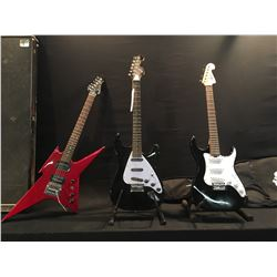 3 GUITARS: LYON BY WASHBURN STRAT STYLE GUITAR WITH SOFT SHELL CASE, FIRST ACT ME1959 VINTAGE STYLE