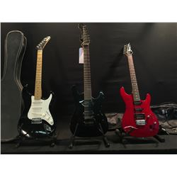 3 GUITARS: SQUIER STAGEMASTER-7 7 STRING GUITAR WITH TWO HUMBUCKER PICKUPS, FLOYD ROSE LOCKING